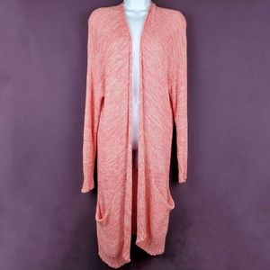 COMME TOI Longline Open Front Knit Cardigan M / L